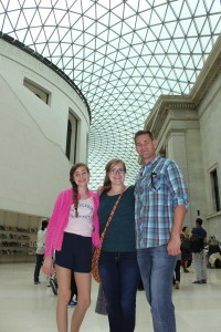 Uncle Jerry & girls at British Museum