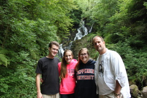 Jim and kids at Torc Waterfall in Killarney