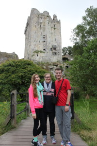 Kids at Blarney Castle where they kissed the Blarney Stone