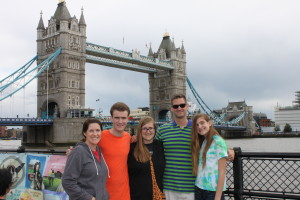 Joline & kids with Uncle Jerry at Tower Bridge