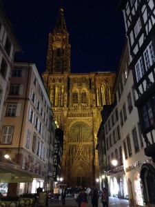 Cathedral in Strasbourg at night