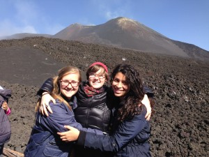 Jessica and her roommates at Mt. Etna