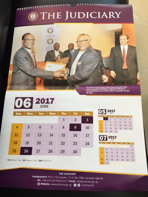 Uganda Judiciary's Official Wall and Desk Calendar